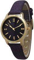 OLIVIA PRATT Olivia Pratt Womens Gold-Tone Purple Denim Faux Leather Strap Watch 14086
