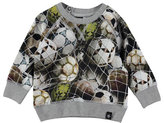 Molo Elmo Ball Net Sweat Tee, Gray/Multicolor, Size 12-24 Months