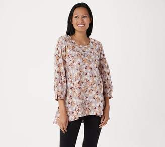 LOGO Lounge by Lori Goldstein Printed French Terry Top with Blouson Sleeve