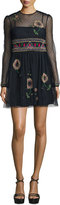 RED Valentino Long-Sleeve Floral-Embroidered Point D'Esprit Dress, Navy