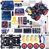 Newly Upgraded Bluetooth RC Smart Robot Car Kit, Kuman UNO R3 Robotics Kit Building Sets with Line Tracking Module, Ultrasonic Sensor, Servo Motor, LED, Buzzer Horn, Tutorials for Arduino project Beginner, Kids, Teens, Education and More