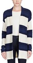 Lauren Ralph Lauren Open Front Stripe Cardigan, Cream/Indigo