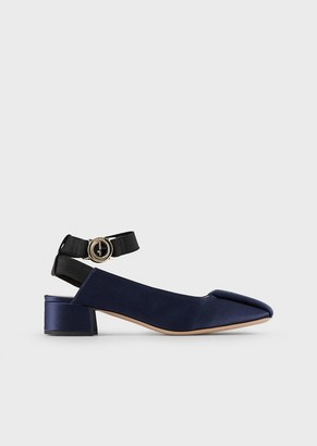 Giorgio Armani Satin Slingbacks With Elasticated Strap
