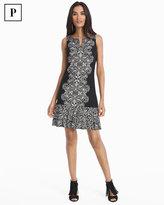 White House Black Market Petite Embellished Pleat-Hem Printed Dress