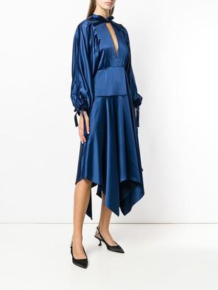 Self-Portrait Asymmetric Midi Dress