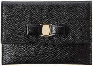 Salvatore Ferragamo Vara Bow Leather Flap Card Case