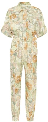 Zimmermann Glassy floral linen belted jumpsuit