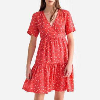 Suncoo Floral Print Wrapover Dress with Gathered Tiers