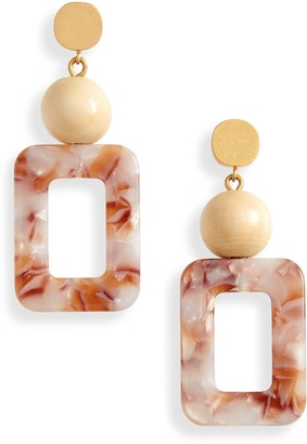 Madewell Wooden Bead Acetate Statement Earrings