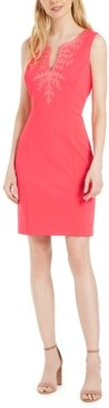 Pappagallo Embroidered Split-Neck Sheath Dress