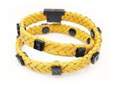 Tissuville Yellow Leather Wrap Tarmac Bracelet With Black Studs