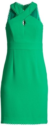 Trina Turk Rafter Criss-Cross Halter Sheath Dress