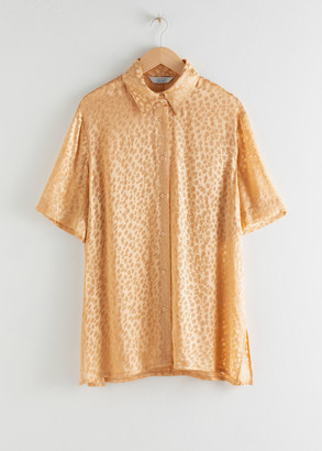 And other stories Oversized Silk Jacquard Leopard Shirt