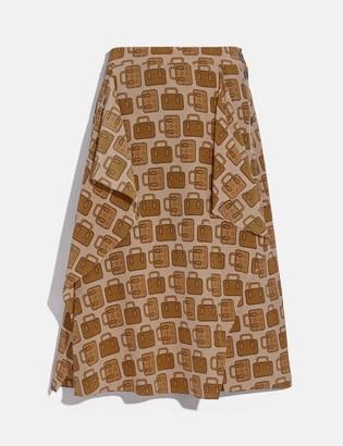 Coach Bag Print Draped Midi Skirt
