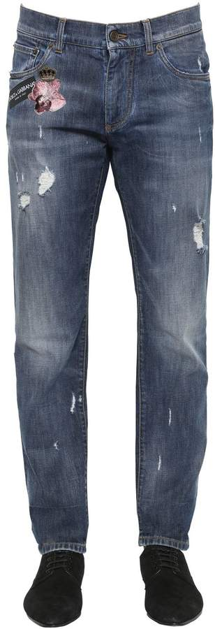 Dolce & Gabbana 16.5cm Embroidered Stretch Denim Jeans