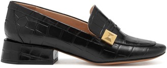 Mulberry Keeley Pyramid Loafer Black Croc Print