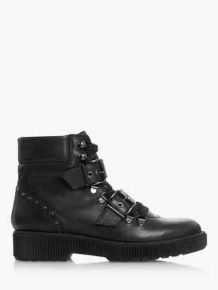 Bertie Provoked Leather Double Buckle Ankle Boots