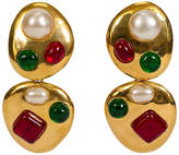 One Kings Lane Vintage Chanel Gripoix Collectible Drop Earrings - Vintage Lux - gold/green/red/multi