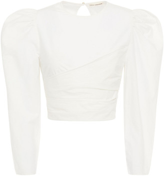 Ulla Johnson Open-back Bow-detailed Cotton-poplin Blouse
