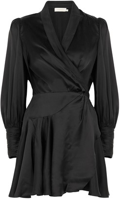 Zimmermann Black Silk-satin Wrap Dress