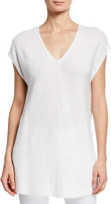 Eileen Fisher Plus Size V-Neck Short-Sleeve Textured Organic Linen-Cotton Tunic Sweater