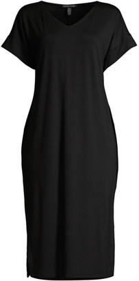 Eileen Fisher V-Neck Mid-Length Dress