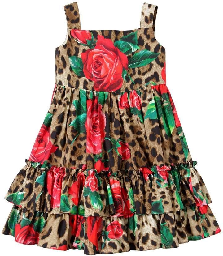 Dolce & Gabbana Rose & Leopard Print Cotton Poplin Dress