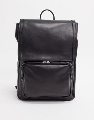 ASOS DESIGN leather backpack in black with front pocket