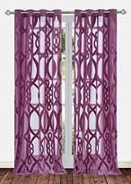 "Ifblue 2 Panels Grommet Top Sheerness Velvet Cutting Sheer Window Light Filtering Geometric Pattern Curtains Drapes for Bedroom Kids Living Room(52""X95"", Purple)"