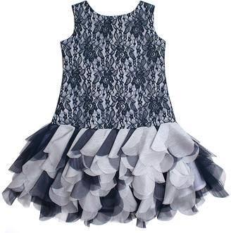 Biscotti Girls' Special Occasion Dresses NAVY - Navy Lace Drop-Waist Dress - Toddler & Girls
