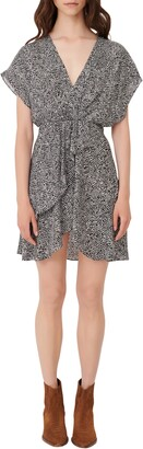 Maje Snakeskin Print Drape Detail Dress