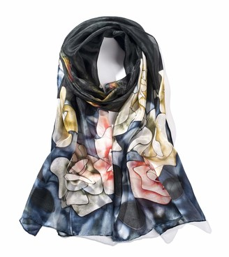 Invisible World Women's Silk Scarf 100% Mulberry Long Floral Design for Neck Head or Hair Hand Painted - Blue Roses