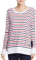Pam & Gela Stripe Print Fleece Pullover