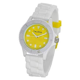 Newave nwh214bj - Unisex Watch - Analogue Quartz - Yellow Dial - Silicone Wristband White
