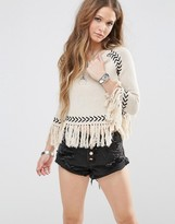 Glamorous 3/4 Sleeve Sweater With Chevron Knitted Pattern And Tassel Hems