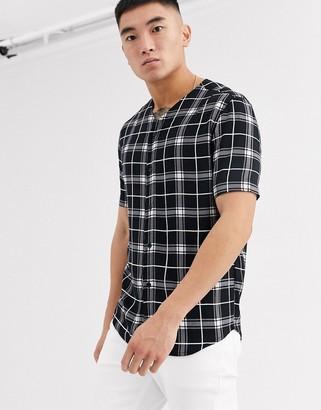 Religion baseball check shirt in black and white
