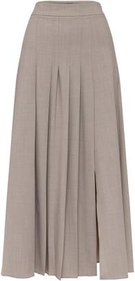 ANNA QUAN Sable Pleated Wool-Blend Maxi Skirt