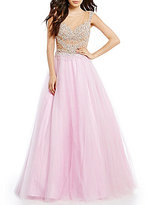 Glamour by Terani Couture Illusion Yoke Beaded Bodice Ball Gown
