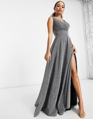 Goddiva front split maxi dress in silver glitter