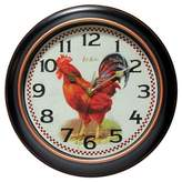 """Infinity Instruments Rotterdam Rooster 12"""" Round Wall Clock Black"""
