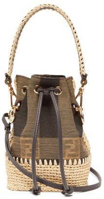 Fendi Mon Tresor Mini Ff-logo Leather Bucket Bag - Womens - Brown Multi