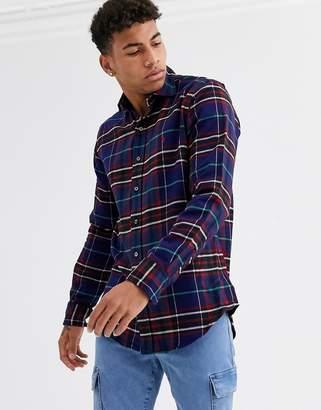 Polo Ralph Lauren player logo check flannel shirt custom regular fit in navy