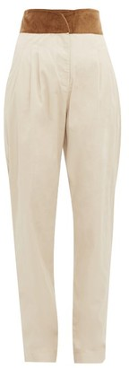 ÀCHEVAL PAMPA Gato Velour-waistband Cotton-blend Trousers - Womens - Beige Multi