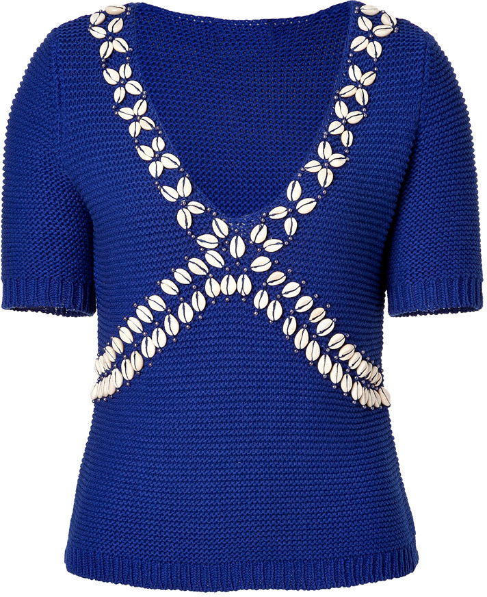 Moschino Cheap & Chic Royal Blue Shell Embellished Cotton Pullover