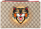 Gucci angry cat GG supreme clutch