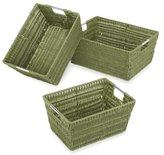 Whitmor Rattique Storage Baskets, Set of 3, Sage Green by