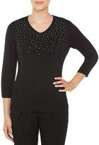 Allison Daley V-Neck Embellished Solid Pullover Sweater