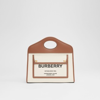 Burberry Small Two-tone Canvas and Leather Pocket Tote