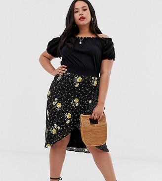 Koko Contrast Print Wrap Skirt