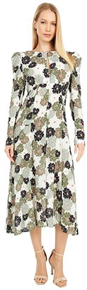 Nicole Miller Camo Delilah Silk Long Sleeve Keyhole Dress (Khaki Multi) Women's Dress